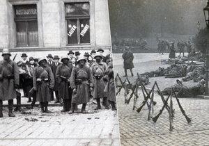 Říjen 1918: Vojáci rakousko-uherské monarchie v ulicích Prahy.