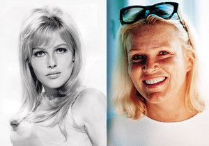 Olga Schoberová o pozornost už nestojí. Vpravo snímek z doby, kdy jí bylo 60.
