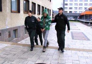 Vláďu (15) přivádějí policisté k soudu. Obviněn je za zabití jmenovce Vladimíra (†49).