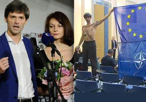 Prezidentský kandidát Marek Hilšer: S manželkou Monikou na tiskovce a polonahý na Úřadu vlády při protestu