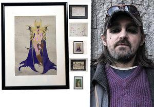 I populární bezdomovec Karim draží svůj obraz.