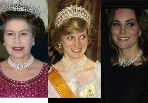 Kate vynesla perlový náhrdelník, který měla od královny Alžběty II. a měla ho na krku v minulosti i princezna Diana.