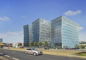Vizualizace kancelářského projektu, který vedle O2 areny v Praze 9 staví developeři Kaprain Group a Lighthouse Group.