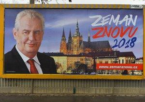 Miloš Zeman tvrdí, že žádnou předvolební kampaň nevede. Po republice ale visí několik druhů bilboardů, které ho propagují. Je na nic i stejný oficiální portrét prezidetna