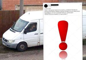 Po Facebooku se šíří nebezpečný hoax: Polská dodávka psy nekrade, tvrdí policie.