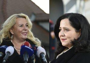 Prezident Miloš Zeman přijal v Lánech kandidátky na ministryně Kláru Dostálovou (vlevo) a Jaroslavu Němcovou