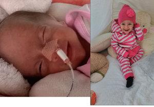 Emily Drábková při narození vážila jen 740 gramů. Dnes je jí rok a půl a je to pěkná čiperka.
