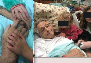 Olga Menzelová zveřejnila dojemné snímky svých dcer s manželem Jiřím Menzelem, který leží na jednotce intenzivní péče.