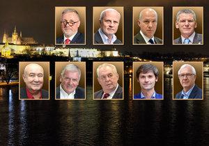 Kandidáti na prezidenta ČR: Topolánek, Horáček, Fischer, Hynek, Hannig, Kulhánek, Zeman, Hilšer a Drahoš