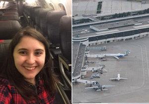 Mladá Američanka měla letadlo celé pro sebe.