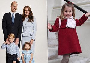 Princezna Charlotte šla poprvé do školky.