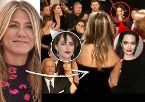 Jolie ignorovala Aniston při jejím vystoupení na Zlatých glóbech a vše sledovala kolegyně Dakota Johnson.
