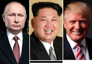 Vladimir Putin, Kim Čong-un, Donald Trump.
