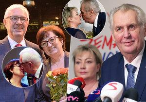 Postupující do druhého kola přímé volby prezidenta: Jiří Drahoš a Miloš Zeman s manželkami