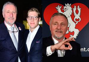 Mirka Topolánka podpořil ve štábu i jeho syn Tomáš. Na tiskovce předvedl expremiér znakovou řeč.