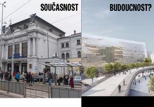 Jihomoravští krajští zastupitelé hlasují pro odsun hlavního nádraží v Brně k řece. Tak by podle vizualizace mohlo vypadat.