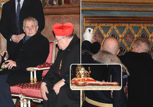 Vyzvednutí korunovačních klenotů na Pražském hradě v lednu 2018.