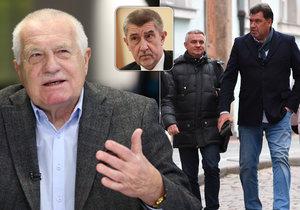 Václav Klaus o Mynářovi s Nejedlém: Neznám je. Ale Babiš o nich mluvil záměrně