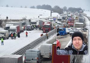 Někteří řidiči uvízli na dlouhých 19 hodin.