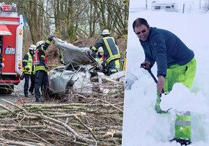 Sněhová bouře ničí Evropu.