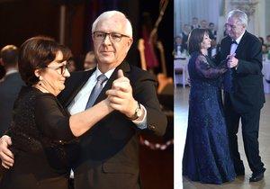 Kandidáti na prezidenta v jednom kole: Jiří Drahoš s chotí Evou a Miloš Zeman s manželkou Ivanou