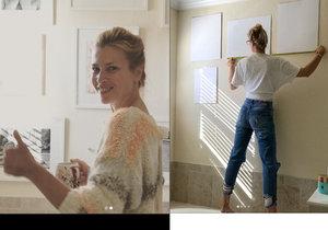 Daniela Peštová si o víkendu sama pověsila rámy na obrazy.