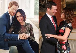 Co o Meghan a Harrym a princezně Eugenii a Jackovi prozradily zásnubní fotky?