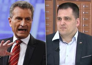 Tomáš Zdechovský (vpravo) se ptal německého eurokomisaře Oettingera (vlevo) v Bruselu na Čapí hnízdo.