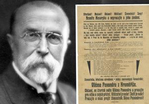 Volební plakát z roku 1907 ostře kritizuje Masaryka.