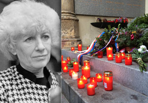 Lidé se scházeli u hrobu Olgy Havlové, aby v upomínku na její památku zapálili svíčky.