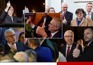 Miloš Zeman použil při vyhlašování výsledků stejné gesto, které používal během celé kampaně Jiří Drahoš? Výsměch. Odborníci se neshodou, hrad tvrdí, že spontánní reakce.