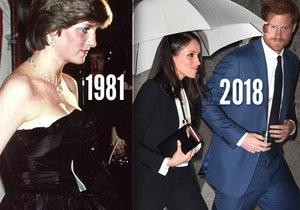 Meghan Markle debutovala ve společnosti na stejném místě jako Lady Diana.