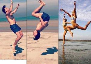 Roman Vojtek a jeho holky předvedli na pláži gymnastické cviky.