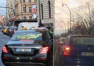Protest taxikářů způsobil kolaps v centru Prahy.