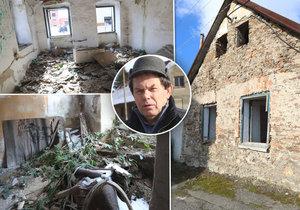 """Kvůli ruině domu bez vlastníka obec přes 20 let trpí. Zoufalý starosta: """"Zbourat se nesmí!"""""""