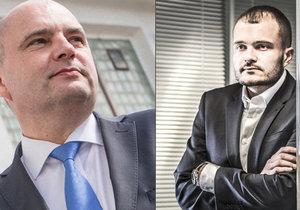 Majitel impéria CSG Jaroslav Strnad (vlevo) předal vedení firmy 25letému synovi Michalovi.