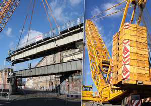 Největší kolový jeřáb v republice v rámci rekonstrukce Negrelliho viaduktu snesl k zemi ocelovou konstrukci v Karlíně.