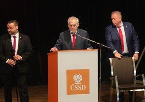 Miloš Zeman na sjezdu ČSSD v Hradci Králové (18. 2. 2018)