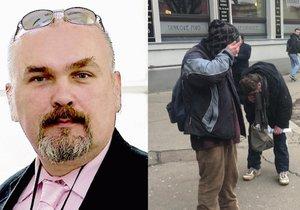 Novinář Kotrba nastříkal zblízka pepřový sprej bezdomovcům do očí.