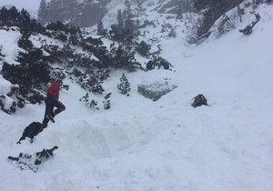 Záchranné práce ve Vysokých Tatrách po pádu laviny. Petra se zpod sněhu živého dostat nepodařilo.