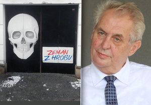 Zeman z hrobu a obří lebka: »Nenávistný útok elity«, kontruje Ovčáček malbu divadla Husa na provázku