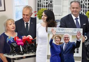Prezidentské páry: Zleva Zemanovi, Steinmeier s manželkou Elke a Kiskovi