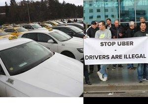 Taxikáři požadují vypnutí aplikací typu Uber.