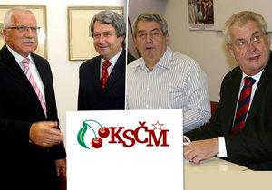 Klaus pozval předsedu KSČM poprvé na Hrad, Zeman se chystá na sjezd komunistů