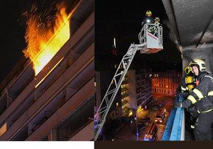 Na Žižkově se vznítil balkon. Hasiči jej včasným zásahem uhasili.