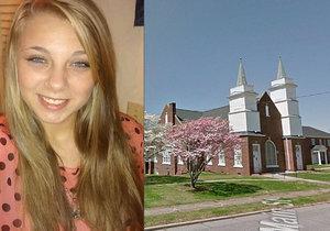 Kaylee Muthart si vydloubla vlastní oči před kostelem.