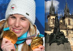 Olympionici v čele s Ester Ledeckou budou v pondělí slavit na Staroměstském náměstí.