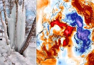 Zatímco v Evropě panují drastické mrazy, Arktida hlásí teploty kolem nuly.