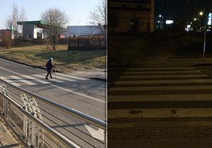 Přechod pro chodce ve Slavínského ulici je podle místních obyvatel nebezpečný.