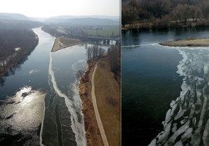 V Praze za poslední dny mrzlo natolik, až začal zamrzat soutok Berounky s Vltavou.